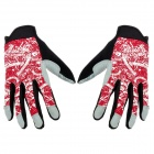 HANDCREW Nylon + Anti-Slip Silicone Bike Cycling Gloves - Red + Black (Size L)