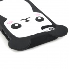 Cute Cartoon Bear Style Protective Soft Silicone Back Case for Iphone 4 / 4S - White + Black