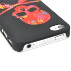 Dual Guns Skull Pattern Protective Plastic Back Case for Iphone 4 / 4S - Black + Red + White