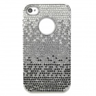 Ultra-thin Fashion Electroplating Shiny Rhinestone PVC Back Case for Iphone 4 / 4S - Black + Silver