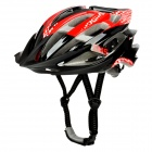 SMS S-124 Outdoor Bicycle Cycling PC Helmet w/ Built-in Red LED Flash Lamp - Red + Black (2 x AG3)