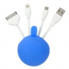 USB 2.0 to Apple 30 Pin / 8 Pin Lightning / Micro USB Charging & Data Cable w/ Silicone Case - Blue