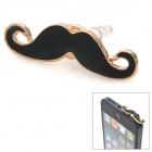 Universal Mustache Style Audio Jack Anti-Dust Plug for Cell Phone - Black + Golden (3.5MM Plug)