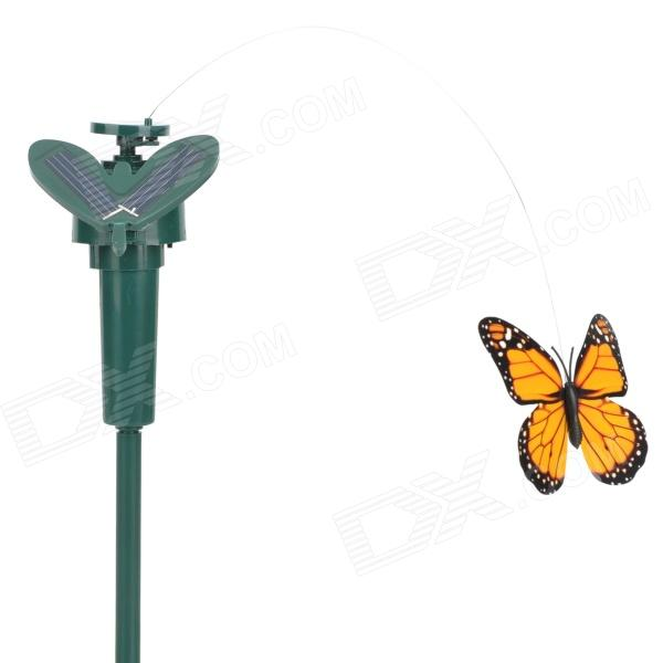Lifelike Decorative Courtyard Garden Solar Flying Butterfly Toy - Green + Yellow + Black (1 x AAA)