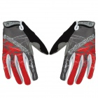 HANDCREW Cycling Anti-slip Nylon Full Finger Gloves - Grey + Red (Size L / Pair)