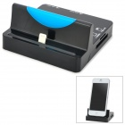 Stilvolle Aufladen Docking Station w / SD / TF Card Reader + USB 2-Port HUB für iPhone 5 - Schwarz + Blau