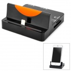 Stylish Charging Docking Station w/ SD/TF Card Reader + USB 2-Port HUB for iPhone 5 - Black + Orange