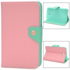 Protective PU Leather Case for Samsung Galaxy Tab 3 P3200 - Pink + Light Green