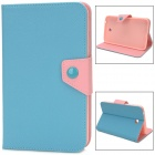 Protective PU Leather Case for Samsung Galaxy Tab 3 P3200 - Light Blue + Pink