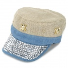 H2YH Flat Top Linen + Cotton Rhinestone Cap for Women - Khaki + Blue