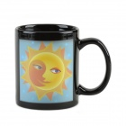 Creative Sun Moon Pattern Color-Change Ceramic Cup - Black + Yellow (220mL)