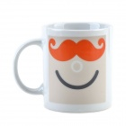 Creative Mustache Pattern Color-Change Ceramic Cup - Black + White + Brown (220mL)