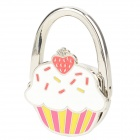JinSiDun GL5117 Cute Cake Style Foldable Bag Hanger Holder Hook - Silver + Deep Pink + White