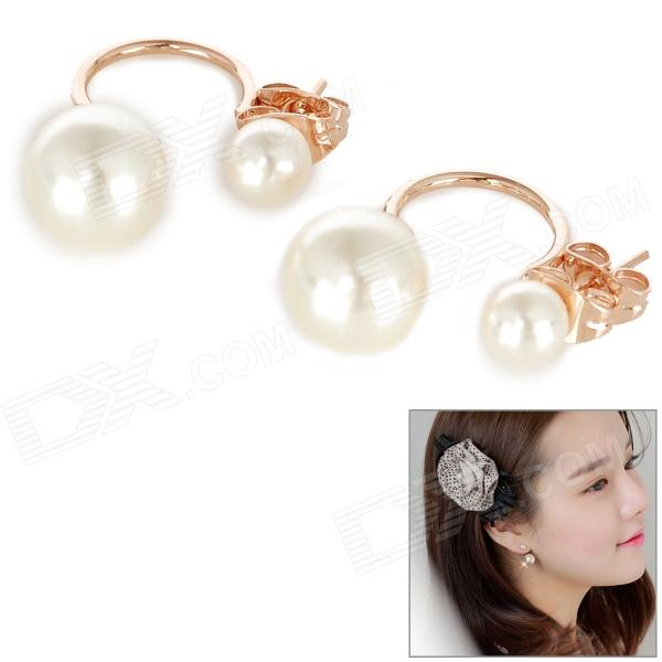 KCCHSTAR Elegant Zinc Alloy + Artificial Pearl Removable Earrings - Golden (Pair)