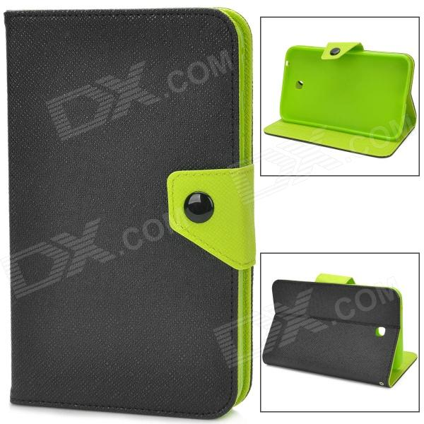цены Protective PU Leather Case for Samsung Galaxy Tab 3 P3200 - Black + Green