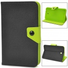 Protective PU Leather Case for Samsung Galaxy Tab 3 P3200 - Black + Green
