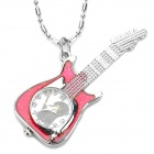 Guitar Shaped Zinc Alloy Analog Quartz Pocket Watch - Silver + Red