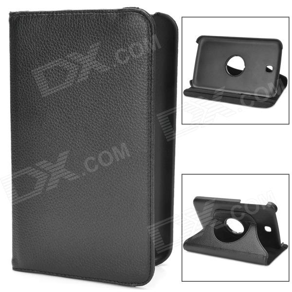 Lychee Pattern Protective 360 Degree Rotation PU Leather Case for Samsung Galaxy Tab 3 P3200 - Black levett caesar prostate massager for 360 degree rotation g spot