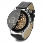 Soft PU Leather Band Analog Quartz Wrist Watch for Women - Black