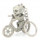 Creative Skull Riding Bike Style PVC Keychain - Grey