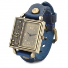 Retro Split Leather Band Analog Quartz Wrist Watch - Blue + Bronze (1 x 377)