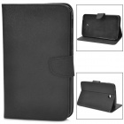 Protective PU Leather Case w/ Card Holder Slots for Samsung Galaxy Tab 3 P3200 - Black