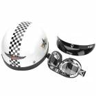 MRC Plaid Pattern Fashionable Motorcycle Helmet + PC Goggles Set - White + Black