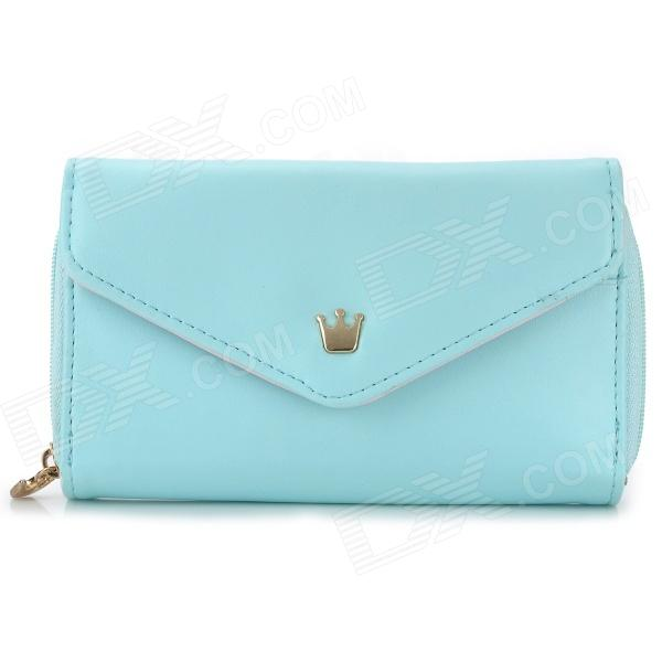 M520 Fashionable Women's PU Change Purse Mobile Pouch w/ Strap - Light Blue