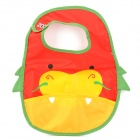 3239 Cute Cartoon Pattern Water Resistant Baby's Bib w/ Velcro Band - Red + Yellow + Green