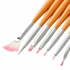 Fashionable 7-in-1 Makeup Art Design Polish Painting Nail Brush Pen Set - White + Pink + Golden