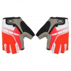 HANDCREW Cycling Anti-slip Nylon Half Finger Gloves - Grey + Red (Size L / Pair)
