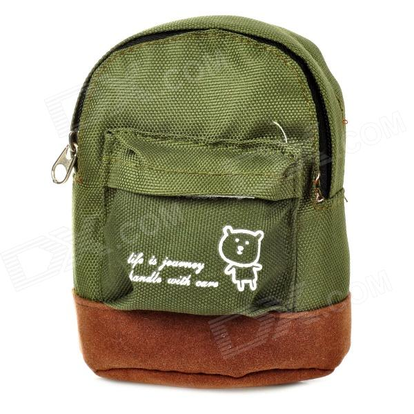 Mini Oxford Fabric Coin Purse w/ Quick Release Carabiner - Army Green + Brown