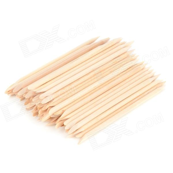 Nail Art Orange Wood Cuticle Pusher Remover Stick - Wood (100 PCS) 50pcs stainless steel cuticle pusher nail pusher manicure trimmer cuticle remover metal cuticle trimmer