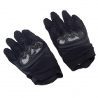 Stylish Tactical Woven Pattern Hard Shell Protective Full-Finger Gloves - Black (Pair / Size-M)