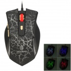 HGUANG HG-16 Crack Pattern Wired USB 2.0 Optical 600 / 1000 / 1600 / 2400dpi Mouse - Black