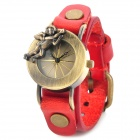 Split Leather Band Analog Quartz Wrist Watch for Women - Red + Bronze
