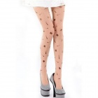 Ultrathin Hat Mustache Tattoo Pattern Pantyhose Leggings - Nude