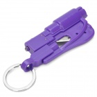 Mini Car Emergency Safety Tool Hammer w/ Keychain - Purple (3 x AG1)