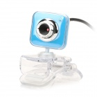 USB 2.0 Wired 1.3MP CMOS Clip-On Webcam Camera w/ Microphone - Light Blue + Silver + Transparent