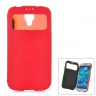 Super Slim PU Leather Protective Smart Case w/ Window for Samsung Galaxy S4 / i9500 - Red