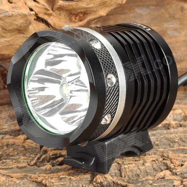 UniqueFire UF-HD012 1800lm 4-Mode White Bike Light w/ 3 x Cree XM-L2 T6 - Black + Silver (4 x 18650)