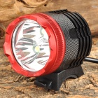 LMG-007 3 x CREE XM-L T6 1800lm 3-Mode White Bicycle Headlamp - Black + Red (4 x 18650)