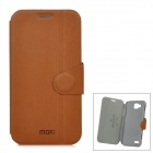 Mofi Protective PU Leather Flip Open Case for Samsung i8750 - Brown