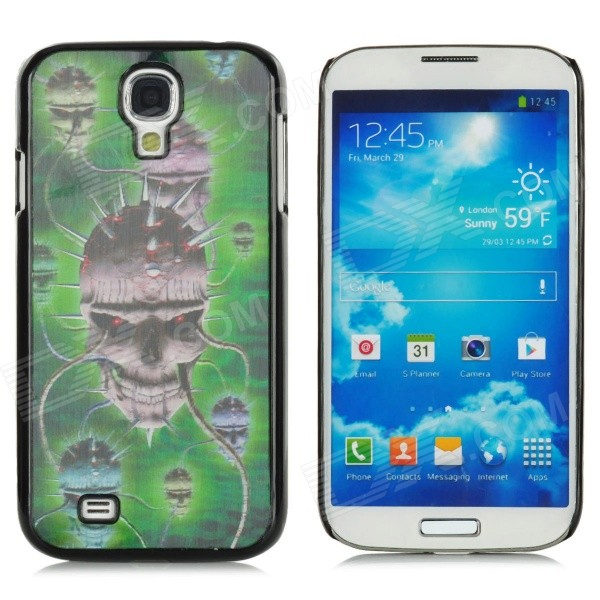 Protective 3D Skull Pattern Plastic Back Case for Samsung i9500 / Galaxy S4 - Black + Green protective cute spots pattern back case for samsung galaxy s4 i9500 multicolored