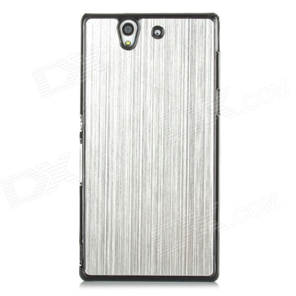 Protective Aluminum Alloy Wire Drawing Back Case for Sony Xperia Z/L36H/C6603 - Black + Silver 1 piece free shipping wire drawing black color 45 h x152 w x200 l mm aluminium junction box manufactures in china