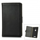 Protective Lichee Pattern PU Leather Case w/ Card Slot for Nokia 925 - Black