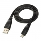 USB Male to Micro USB Male Data / Charging Flat Cable - Black (90cm)
