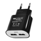 5V 1A Dual USB EU 2-Round-Pin Plug Power Adapter for Iphone / Samsung / HTC + More - Black