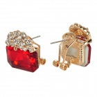 KCCHSTAR Luxurious Sparkling Crystal Rhinestone Earrings - Golden + Red (2 PCS)