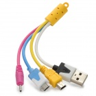 Colorful USB 2.0 to Mini USB / Micro USB / Nokia 2.0mm Sync Data Cable for Cell Phone - Yellow